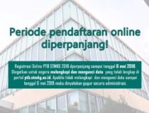 PERIODE PENDAFTARAN ONLINE PTB STMKG 2018  DIPERPANJANG HINGGA 6 MEI 2018