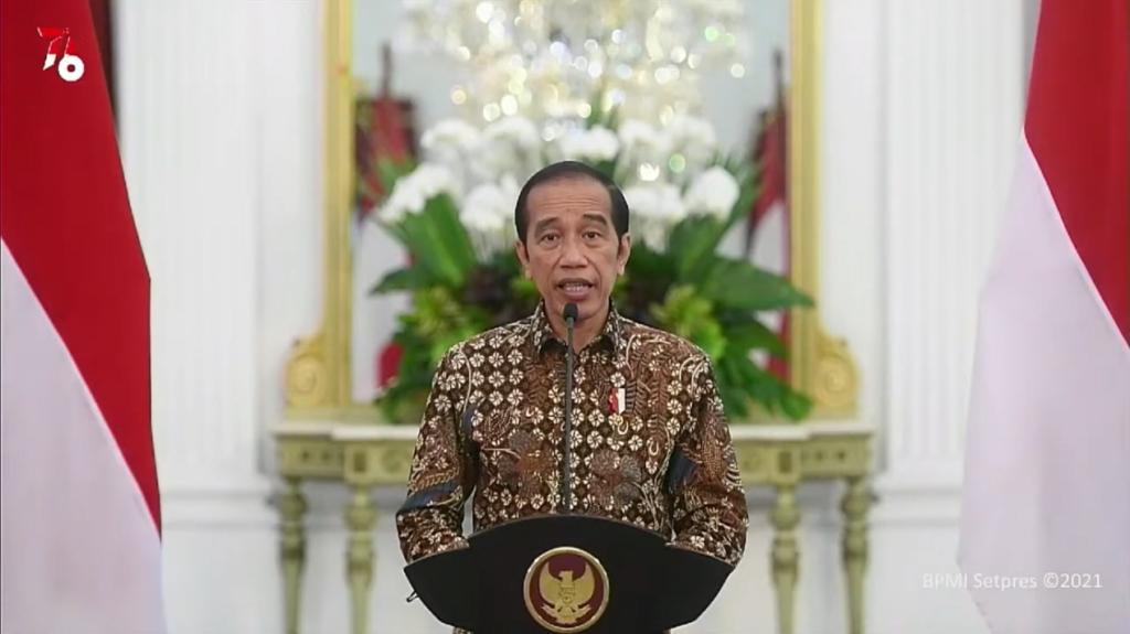 Penyampaian sambutan sekaligus pembukaan secara resmi Rakorbangnas BMKG 2021 oleh Presiden Republik Indonesia, Joko Widodo.